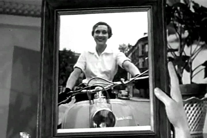 Photoframe with lady on Lambretta scooter